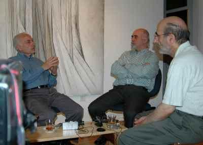 از راست: بهرامی، رضا براهنی، سیراک ملکنیان
