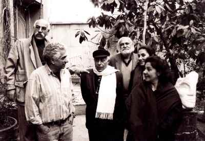 از سمت راست: سیمین اکرامی، سپيده صفوى، سيروس طاهباز، بهمن محصص، پرويز تناولى و محمد على مددى