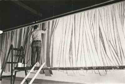 سیراک ملکنیان - نقاشی دیواری در رستوران در لندن - سال 1974