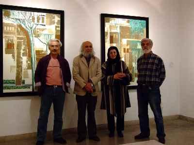 از راست: یعقوب امدادیان، همسر طاها بهبهانی، طاها بهبهانی، علی فرامرزی-  گالری هور - سال1387