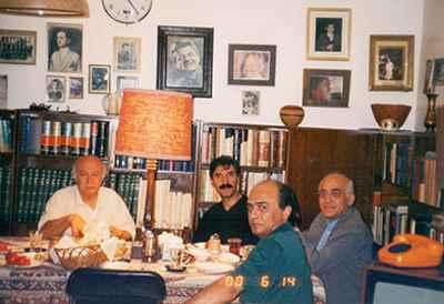 از راست: محمد رضا درویشی، محمد سریر، بیژن بیژنی، فرهاد فخرالدینی