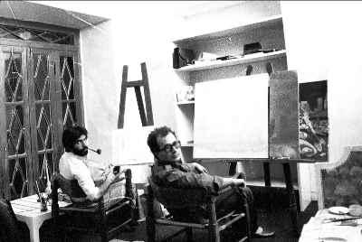 علی فرامرزی در دوران جوانی (سمت چپ) - سال1356