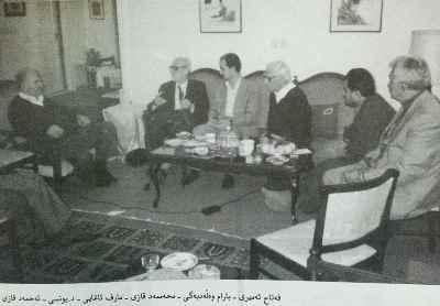 به ترتیب از راست فتاح خان امیریبهرام ولدبیگیمحمد قاضیمعروف آقاییابراهیم یونسیاحمد قاضی