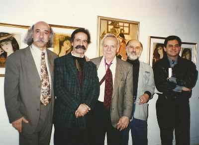 از راست: گورکی، ایرج رفیعی، مارکو گریگوریان، منصوری، علی اصغر معصومی- گالری نیویورک - سال ۱۹۹۴