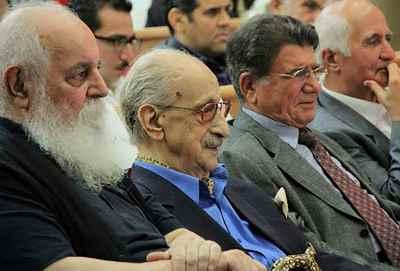 از راست: محمدرضا شجریان ، عبدالوهاب شهیدی، هوشنگ ابتهاج