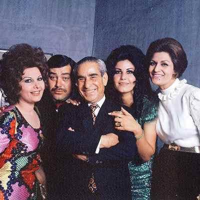 از راست: ژاله علو، پوری بنائی، تقی ظهوری، همایون ، ایرن زاز یانس